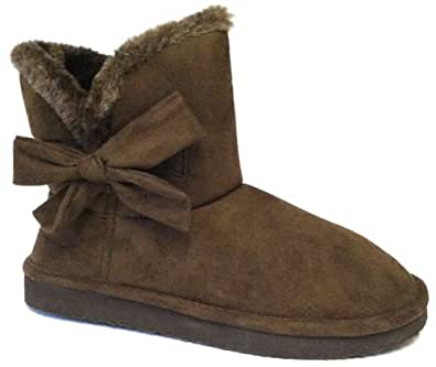 Womens Short Faux Sheepskin Fur Shearling Boot With Side Bow (8, Brown Short Bow)