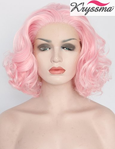 K'ryssma New Arrivals Baby Pink Short Bob Wig For Women Heat Safe Glueless Synthetic Hair Lace Front Wigs For Cosplay Party Replacement Full Wigs 12 inches