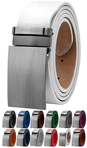 Genuine Belt White (Falari Men's Dress Belt Jeans Belt Genuine Leather 9026-WHITE-L40)