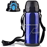 Stainless Steel Water Bottle Vacuum Insulated Double Wall Heat Cold Retention Gym Outdoor Sports Hiking Cycling Camping Climbing Travel Mugs BPA-free Flask--27oz/800ml Blue