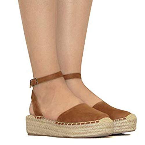 CCOOfhhc Women's Platform Wedges Espadrilles Cap Toe Crisscross Slingback Elastic Band Summer Sandals ()
