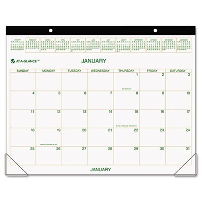 17' Calendar Pad (Recycled Two-Color Desk Pad Calendar, Green and Brown, 22'' x 17'', 2015, Sold as 1 Each)