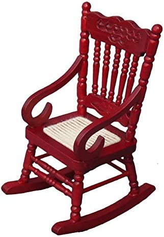 CuteExpress Miniature Rocking Chair 1:12 Scale Dollhouse Accessories Tiny Furniture Model for Doll House Toy Home Decoration Scene Shooting (Red)