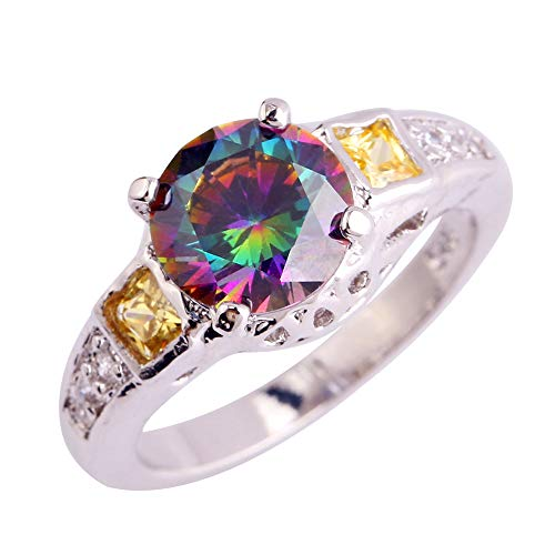 PAKULA Silver Plated Women Round Cut Simulated Rainbow Topaz Ring