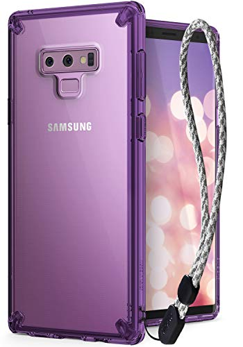 Ringke Fusion Compatible with Galaxy Note 9 Clear PC Back [Anti-Cling Dot Matrix Technology] Upgraded Transparent TPU Bumper Cover with Wrist Strap for Galaxy Note 9 Case - Orchid Purple