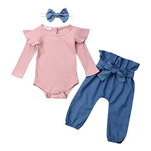 6-9 month girl clothes fall/winter outfits clothing set 6-12 9-12 months blue pink long shirts pants set rompers