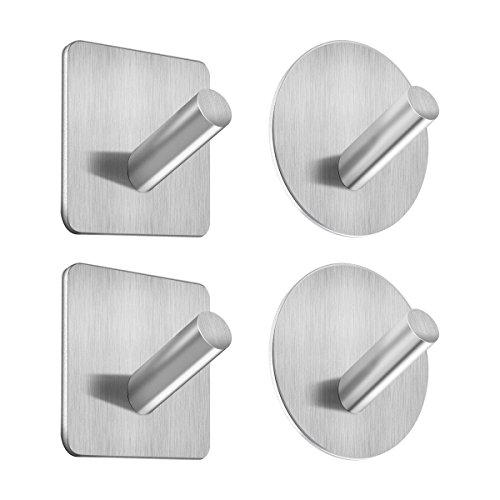 GEMITTO 4-Pack Self Adhesive Hook Waterproof 304 Stainless Steel Bathroom Tower Hooks for Coat Robe Wall Mouted
