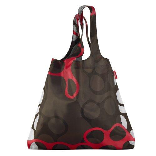 Reisenthel Mini Maxi Shopper, Einkaufstasche, rings / rot schwarz weißes Ringmuster, AT7025