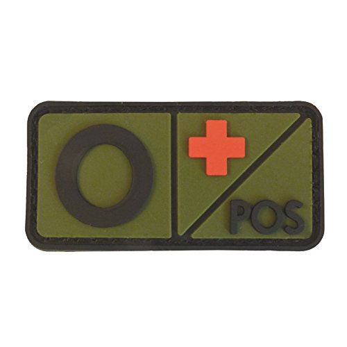 Olive Drab OD Blood Type Morale Tactical PVC Rubber 3D Fastener Patch