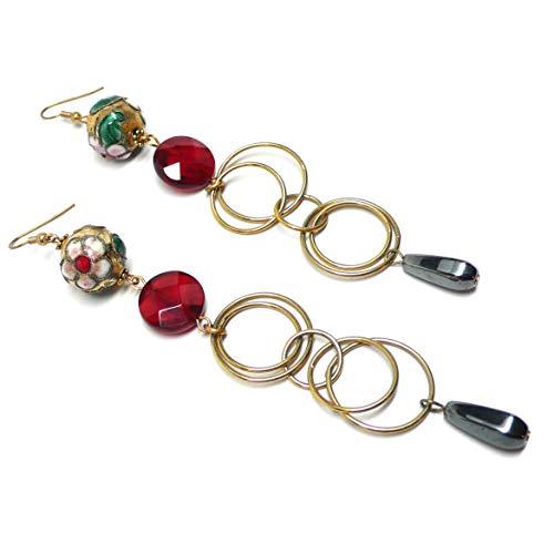 - Chinese Cloisonne Enamel Gold-Tone Loops Red Glass Long Earrings OOAK