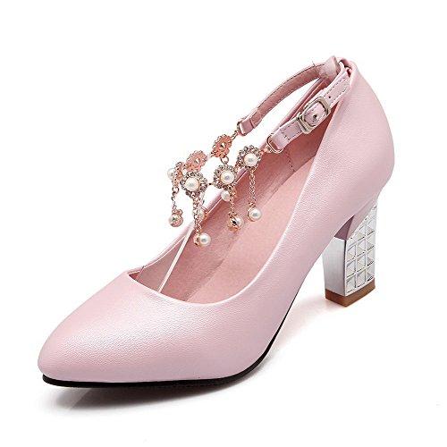 VogueZone009 Damen Rein Hoher Absatz Spitz Zehe Schnalle Pumps Schuhe Pink