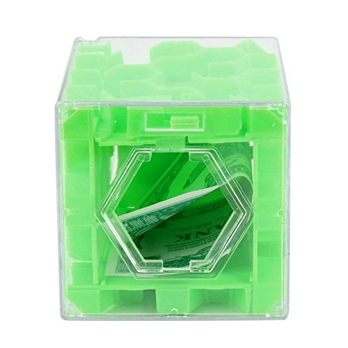 Adorable Puzzle (ManxiVoo New 3D Cube Puzzle Money Maze Bank Saving Coin Collection Case Box Fun Brain Game Intellectual Toy Gift (Green))