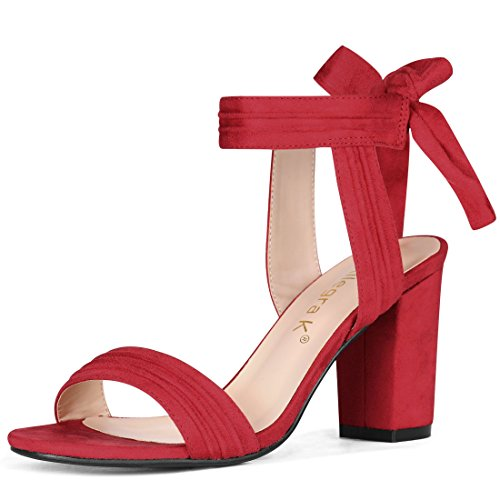 Sandals Allegra Tie K Ankle Women Heel Chunky Red wWgAwO6q