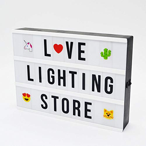 A4 DIY Cinema Light Box with 367 Letters Emojis Numbers Free Message Combination, USB Or Battery Powered LED Marquee Signs, Cinematic Light Box Light Up Home, Wedding, Shop Decor