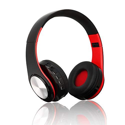Barthylomo Bluetooth On Ear Headphones, Headset Earphone Wireless Stereo Foldable Sport MIC Handfree with Noise-canceling (Red)