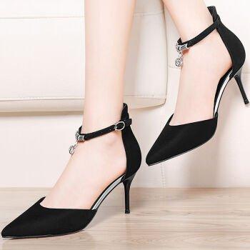 KHSKX-Zapato Tacon Mujer Primavera Tacon Fino De La Cabeza Baja Y Baja Ayuda Superficial Boca Solo Zapato Negro black