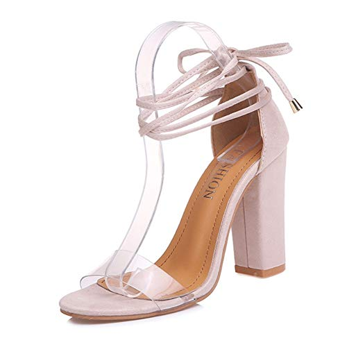 chegong Women's Gladiator Ankle Strap Lace Up Open Toe Clear Chunky High Heel Sandals Nude 39