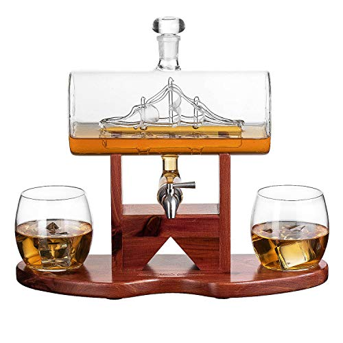 Whiskey Decanter Ship Set - Fathers Day Gift for Dad, Husband or Boyfriend by The Wine Savant