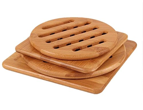 Alfto Hot Pads Trivet,Table Solid Bamboo Wood Trivets for Hot Dishes and Pot with Non-slip Pads Heat Resistant Pads Teapot Trivet 4pcs(Multi Size,2 Square 2 Round)