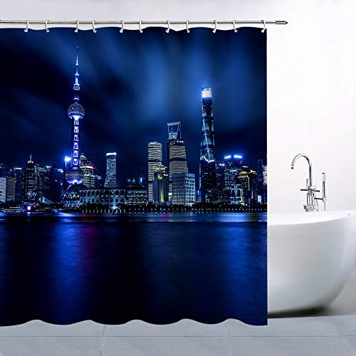 Pearl of The Orient Shower Curtain Blue Light Night Home Decor Bathroom Curtains Machine Washable Waterproof with Hooks 75