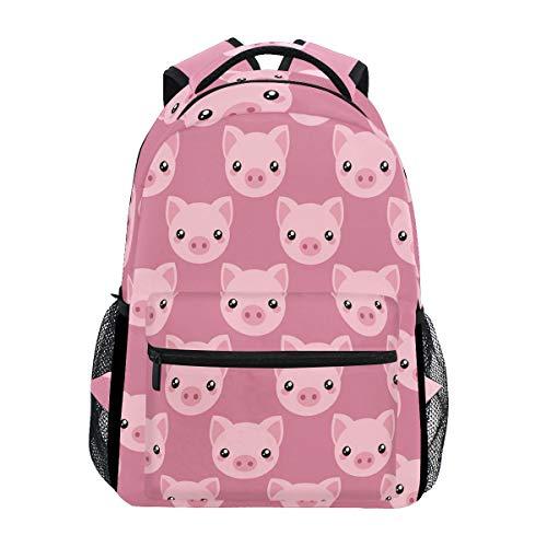 Pink Cartoon Pig Face Laptop Backpack Shoulder School Bag for Girls, Animal Water Resistant College Travel Computer Notebooks Computer Bag Daypack Bookbag for Kids Boys Women (Pink Pig Books)