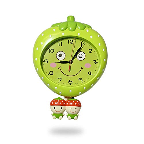 Kids Room Clock Strawberry Shape with Moving Eyes Non Ticking Silent Decorative Red and Green Strawberry Kids Wall Clock for Kids Room PlayRoom Kids Gift for Home or ()