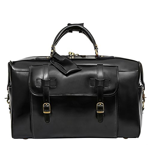 Leathario Mens Genuine Leather Overnight Travel Duffle Weekend Bag Black by Leathario