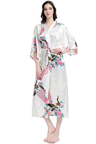Satén de Pavo Seda Novia Blanco Seda Estampado de de dormir Vestido Ropa Real Pijama Kimono de Kimono ArtiDeco nZw1O8vFqF