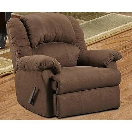 Roundhill Furniture Aruba Microfiber Dual Rocker Recliner Chair Oversize Chocolate