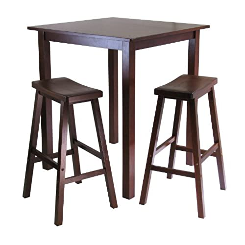 Winsomeu0027s Parkland 3 Piece Square High/Pub Table Set In Antique Walnut  Finish