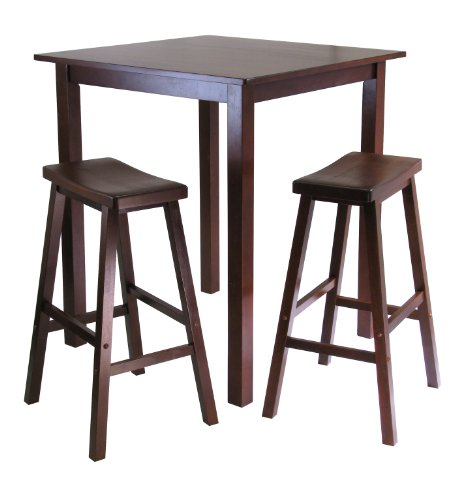 Winsome's Parkland 3-Piece Square High/Pub Table Set in Antique Walnut Finish (Pub Tables Sets)
