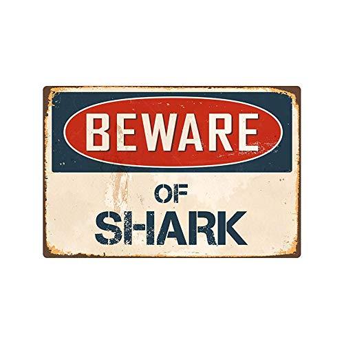 YLCOYO Beware of Shark/Dinosaur Wall Metal Sign Flag Plaque Bar Club Cafe Garage Wall Decor Art Iron Sign Decoration (A)