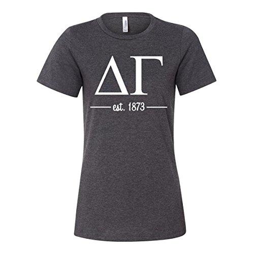 Sorority Letters Shop Delta Gamma Women's Relaxed Fit Short Sleeve Jersey Tee (M, Dark ()