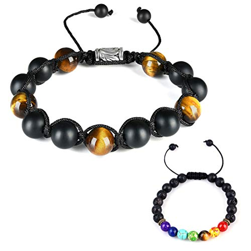 CAT EYE JEWELS 10mm Natural Healing Stones Beads Bracelet Adjustable Mens Fashion Jewelry H015-2pcs