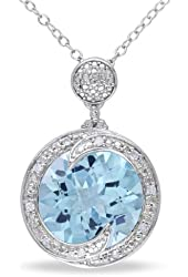 Sterling Silver Blue Topaz and Accent Diamond Circle Pendant (0.05 Cttw, G-H Color, I2-I3 Clarity) 18''