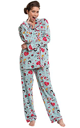 - PajamaGram Women's Christmas Pajamas Cotton - I Love Lucy, Light Blue, S, 4-6