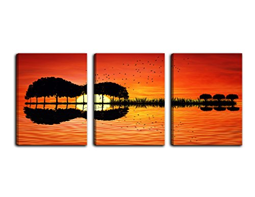Framed Lake Print (AMEMNY Modern Guitar Tree Lake Sunset Art Canvas Painting Living Room Decorating - 3 Panel Painting Home Decor HD Printed Artwork Poster Framed Ready to Hang)