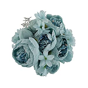 EZFLOWERY 1 Pack Artificial Peony Silk Flowers Arrangement Bouquet for Wedding Centerpiece Room Party Home Decoration, Elegant Vintage, Perfect for Spring, Summer and Occasions (1, Grey Blue) 73