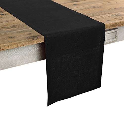 Solino Home 100% Pure Linen Table Runner - 14 x 60 Inch Athena, Handcrafted from European Flax, Natural Fabric Runner - Black