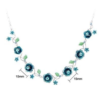 Glamorousky Elegant Rose Necklace with Blue Austrian Element Crystals 1025
