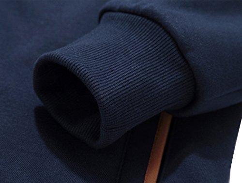 Chaqueta Botón Con De Sudadera Marino Capucha Para Azul Wantdo Hombres fdwxUqvtfC