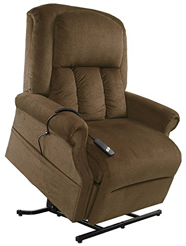 - Mega Motion Easy Comfort Superior 3 Position Heavy Duty Big Lift Chair 500 lb Capacity Chaise Lounge Recliner - Walnut Brown Fabric - White Glove Inside Delivery and Setup
