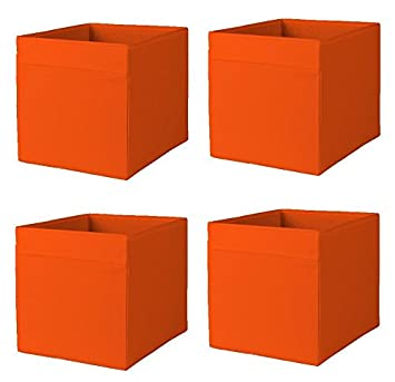 Lovely Ikea Drona Storage Bins (4 Pack) Orange Fits Kallax, Expedit Fabric  13x15x13 U0026quot