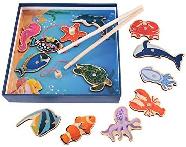 釣り赤ちゃんのおもちゃ、2プレーヤーステム教育玩具幼児釣りゲーム磁気釣り竿と14ピースオーシャン魚のおもちゃ