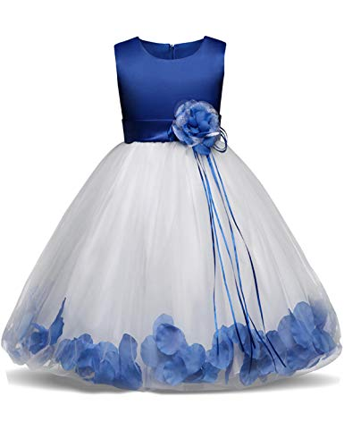 (NNJXD Girl Tutu Flower Petals Bow Bridal Dress for Toddler Girl Size 3-4 Years Big Blue 1)
