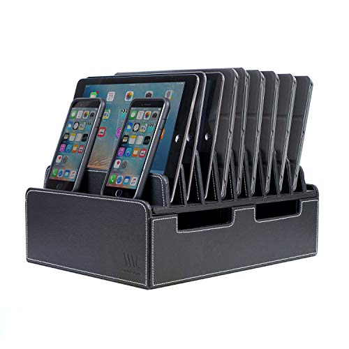 Corporate Executive Offices - MobileVision 10-Port USB Charging Station in Executive PU Black Leather for Smartphones & Tablets Family-Sized or use in Corporate Offices, Classrooms