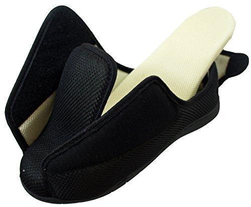 Hombre Mujer Muy Ancho E/5e Fit Ajuste Espuma viscoelástica Transpirable Cierre Adhesivo Zapatillas - Negro Peep Toe, 46
