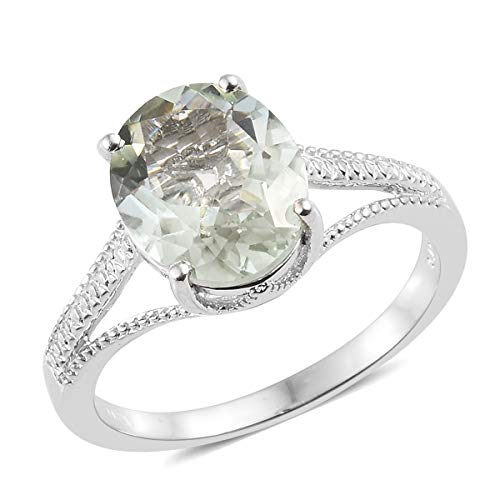 Shop LC Delivering Joy Statement Ring for Women Oval Green Amethyst Jewelry Gift Size 8 Cttw 3.6