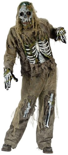 Skeleton Zombie Adult Mens Costumes (FunWorld Men's  Skeleton Zombie, Greenish Yellow, One Size Costume)