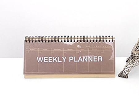 con espiral de alambre color Craft Planificador semanal/2YOUNG de mesa
